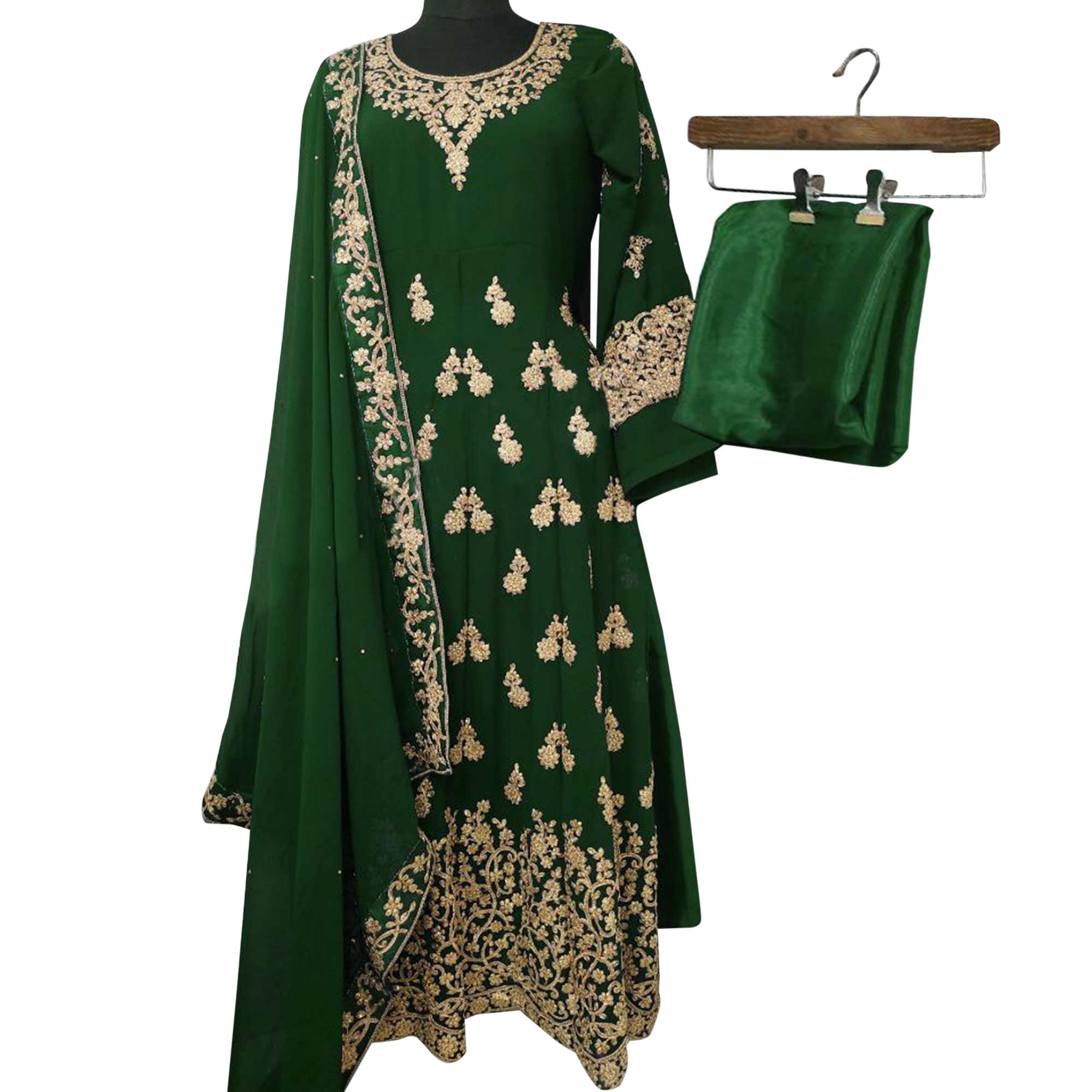 Appealing Green Colored Partywear Embroidered Georgette Anarkali Suit