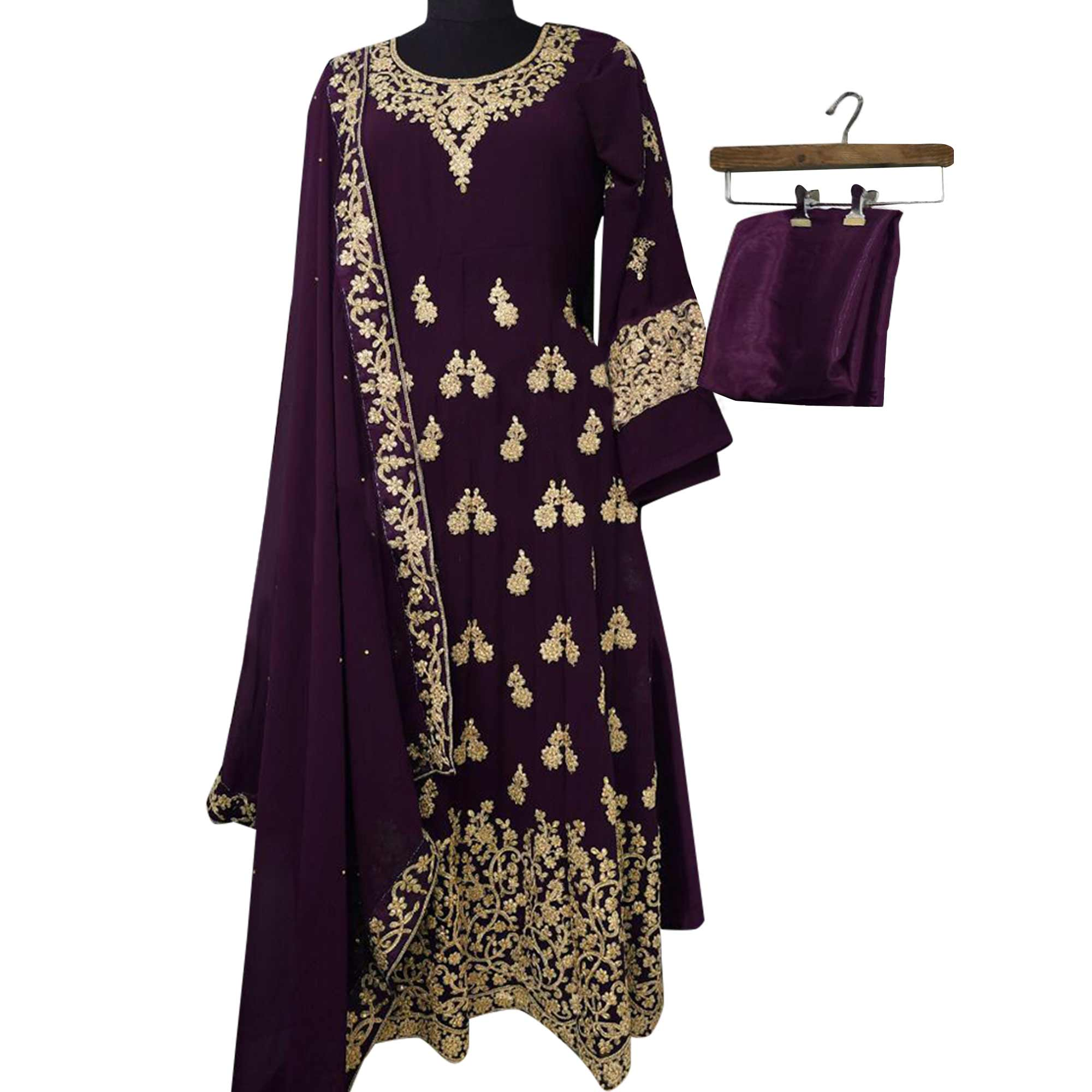 Capricious Dark Purple Colored Partywear Embroidered Georgette Anarkali Suit