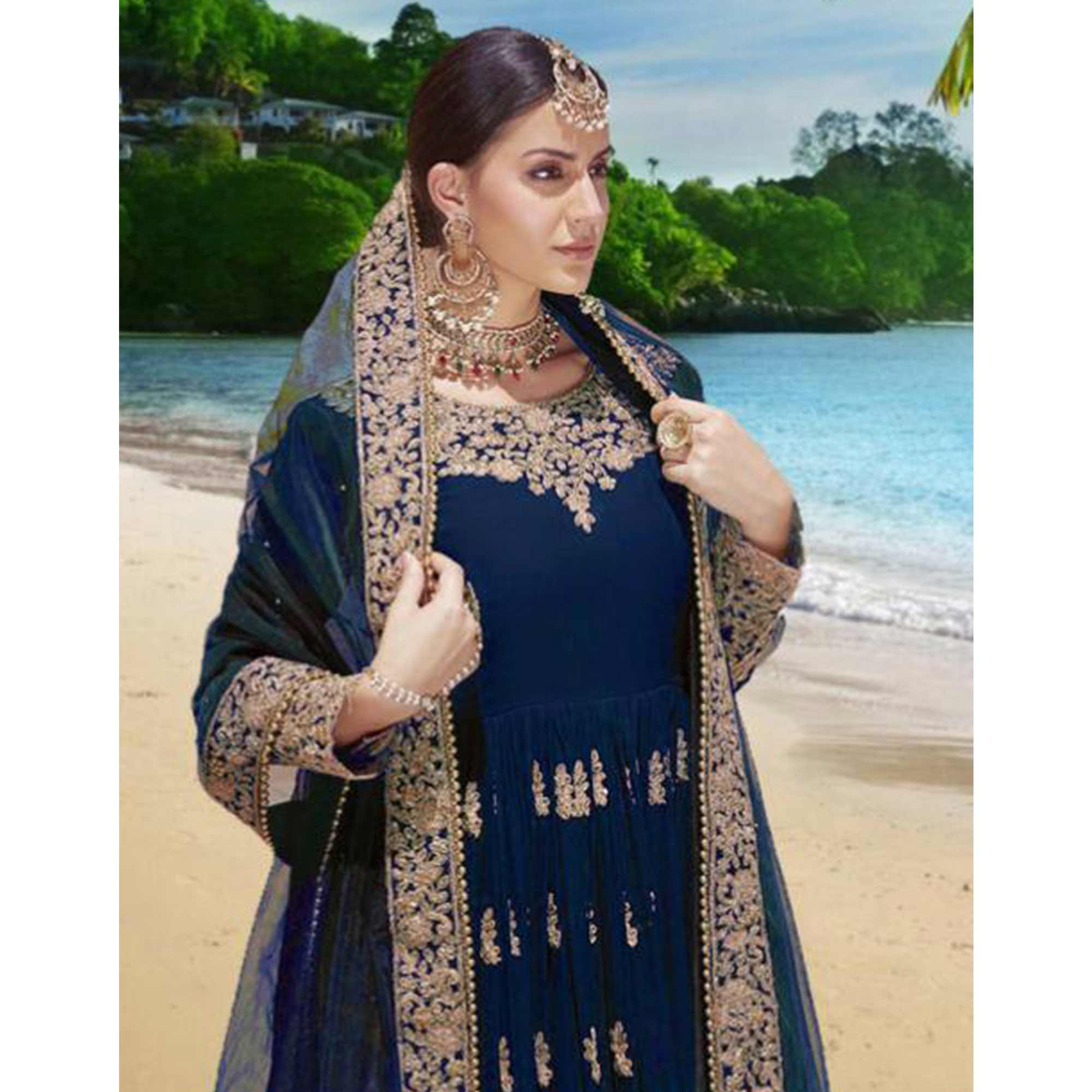 Entrancing Blue Colored Partywear Embroidered Georgette Anarkali Suit