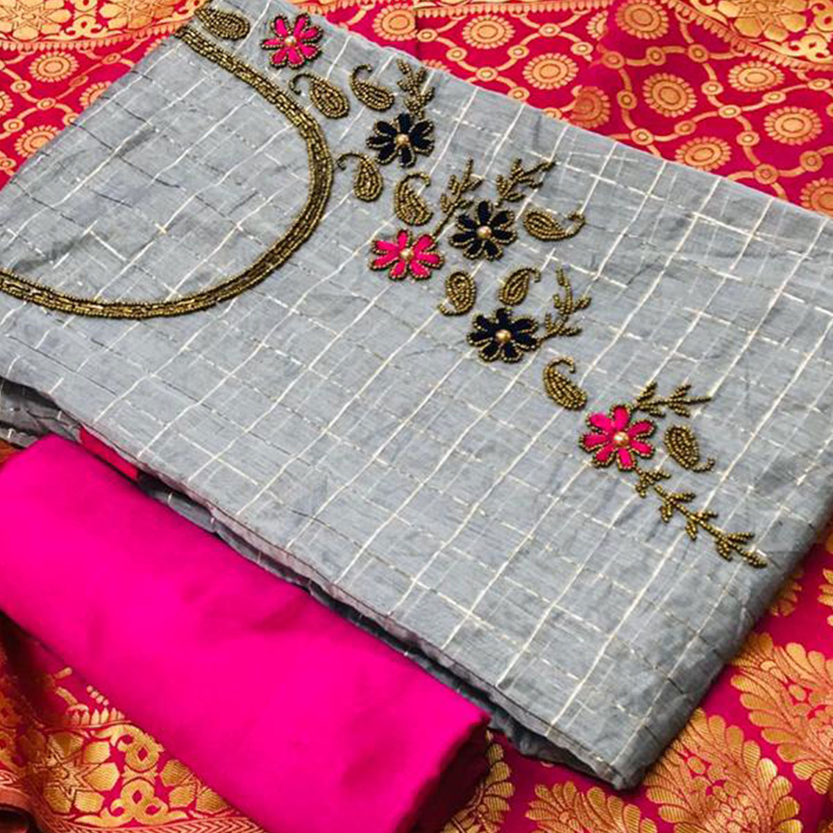 Radiant Grey Colored Partywear Embroidered Chanderi Silk Dress Material With Banarasi Silk Dupatta