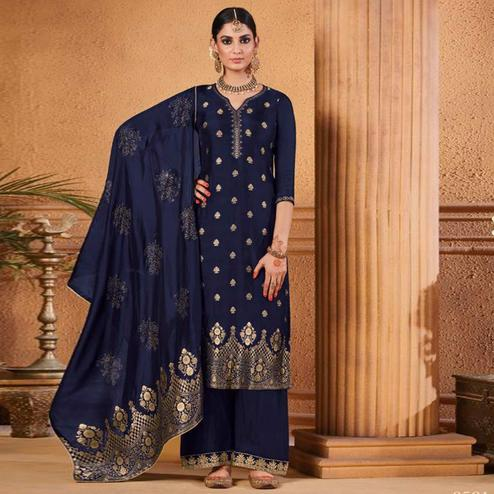Gleaming Navy Blue Colored Partywear Embroidered Banarasi Silk Palazzo Suit
