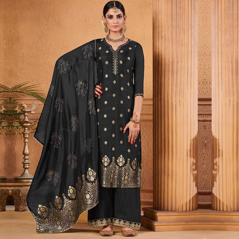 Refreshing Black Colored Partywear Embroidered Banarasi Silk Palazzo Suit