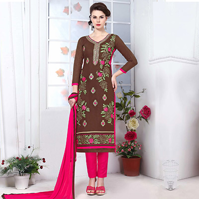 Brown Cotton Embroidered Salwar Kameez