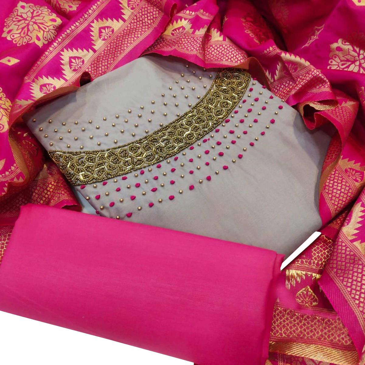 Classy Grey Colored Party Wear Embellished Chanderi Silk Dress Material