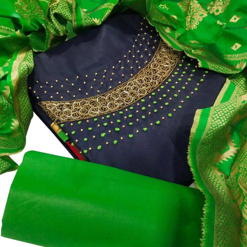 Intricate Navy Blue Colored Party Wear Embellished Chanderi Silk Dress Material