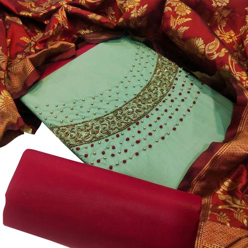 Desirable Light Green Colored Party Wear Embellished Chanderi Silk Dress Material