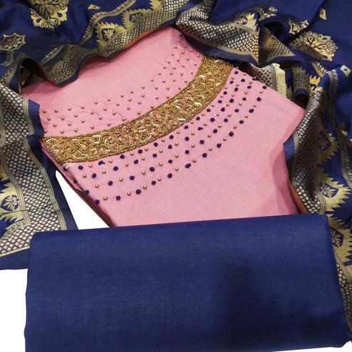 Exotic Pink Colored Party Wear Embellished Chanderi Silk Dress Material
