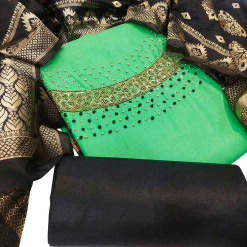 Trendy Dark Green Colored Party Wear Embellished Chanderi Silk Dress Material