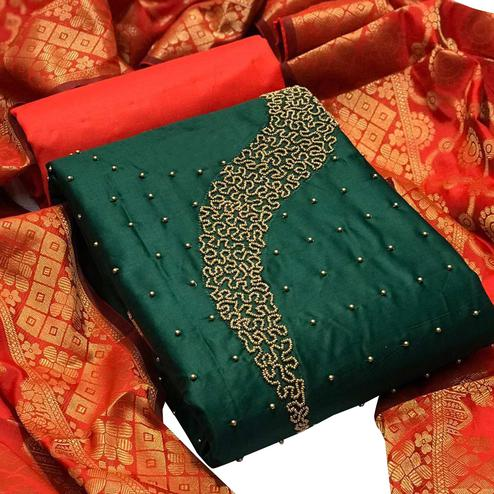 Demanding Green Colored Partywear Embellished Chanderi Silk Dress Material