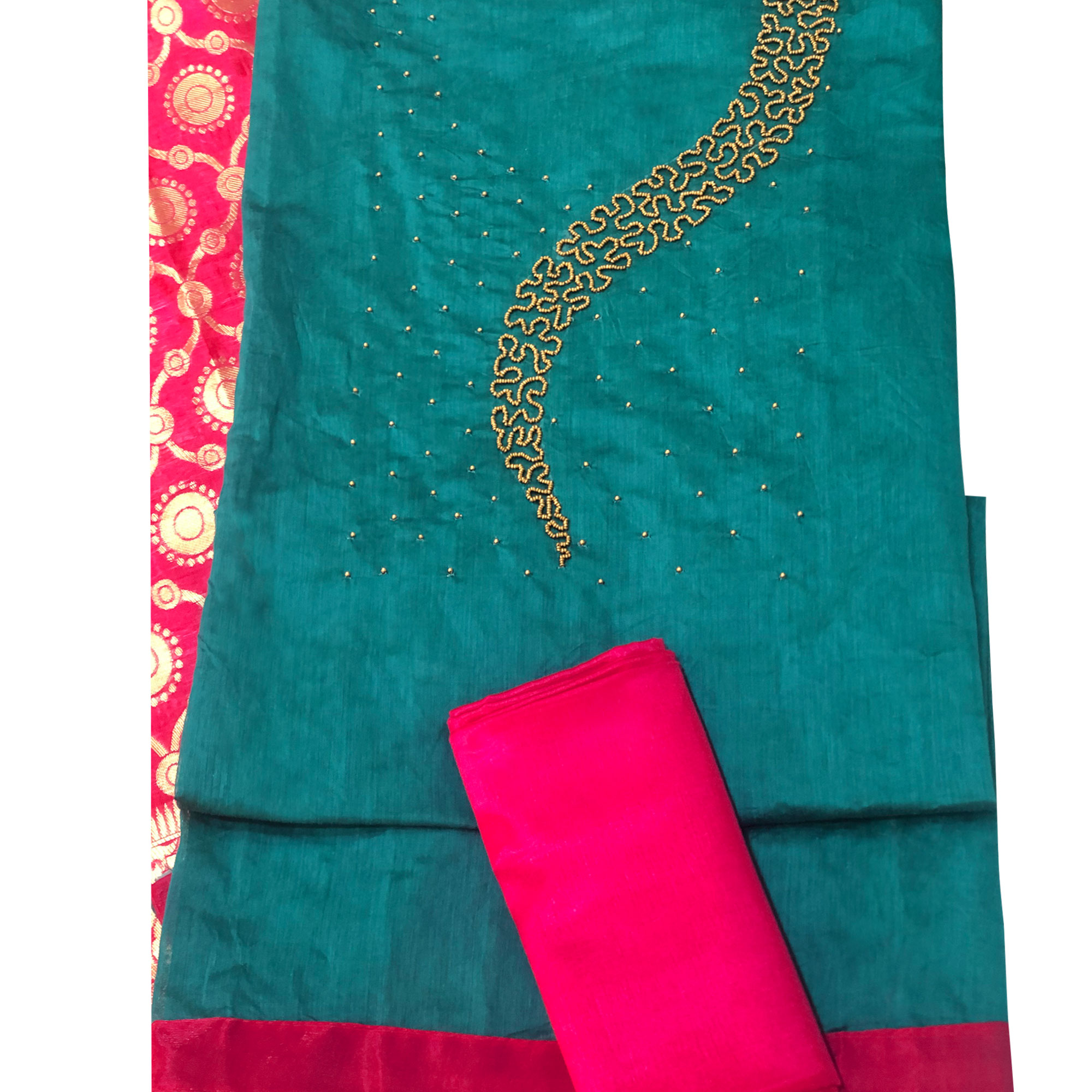 Magnetic Teal Blue Colored Partywear Embellished Chanderi Silk Dress Material
