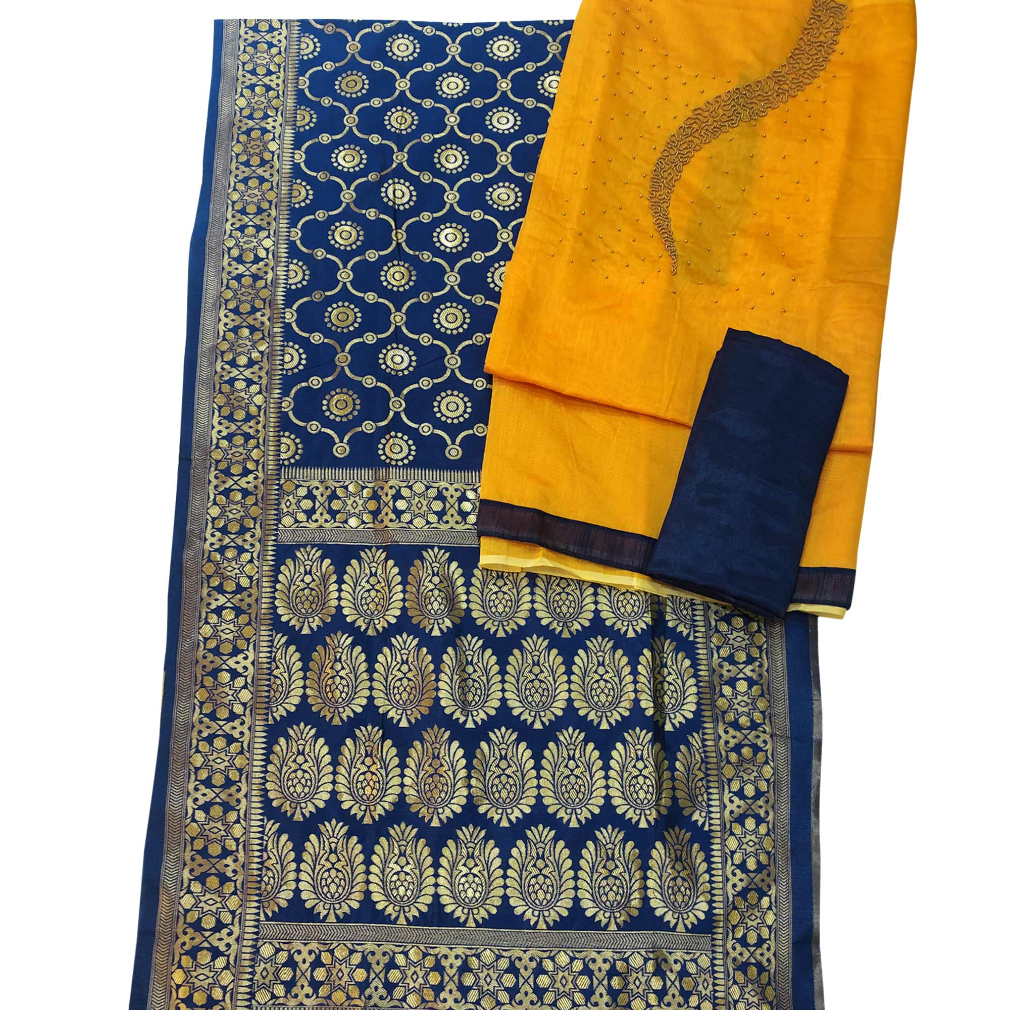 Hypnotic Yellow Colored Partywear Embellished Chanderi Silk Dress Material