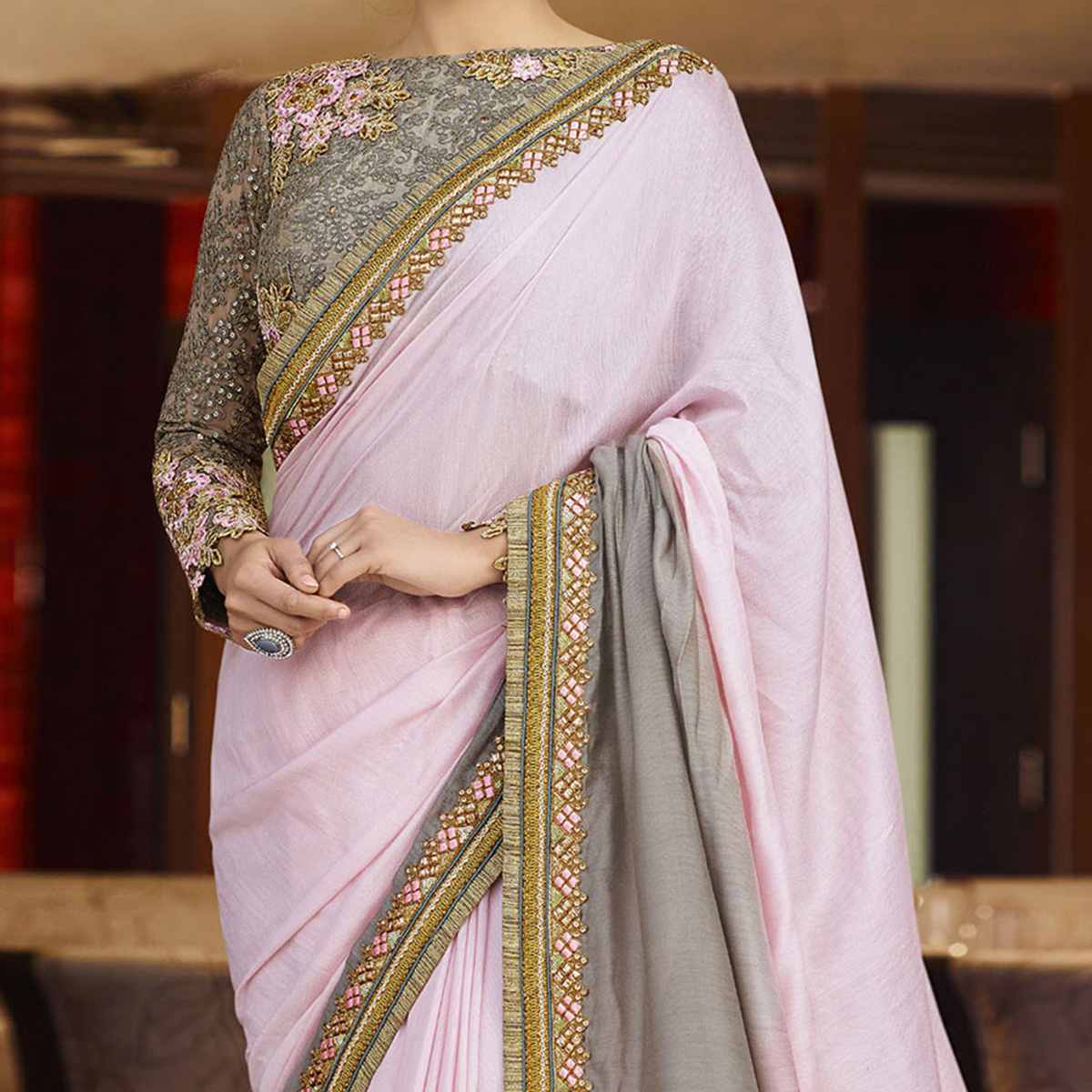 Pink - Grey Lace Work Saree with Embroidered Blouse