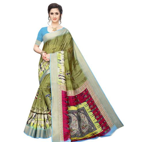 Adorable Olive Green Colored Casual Wear Printed Cotton Silk Saree