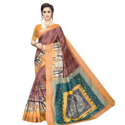 Glorious Mauve Colored Casual Wear Printed Cotton Silk Saree