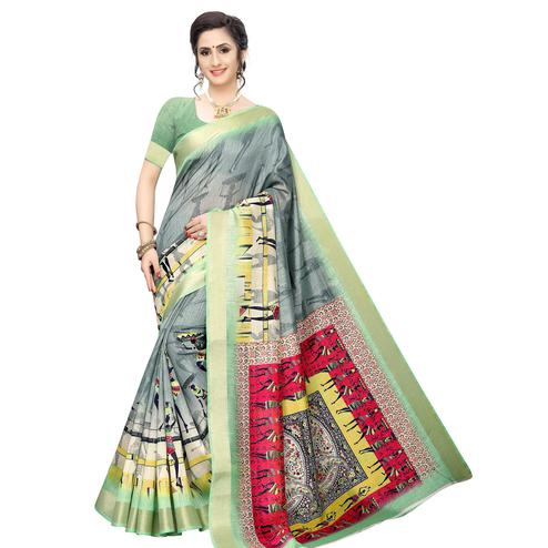 Attractive Grey Colored Casual Wear Printed Cotton Silk Saree