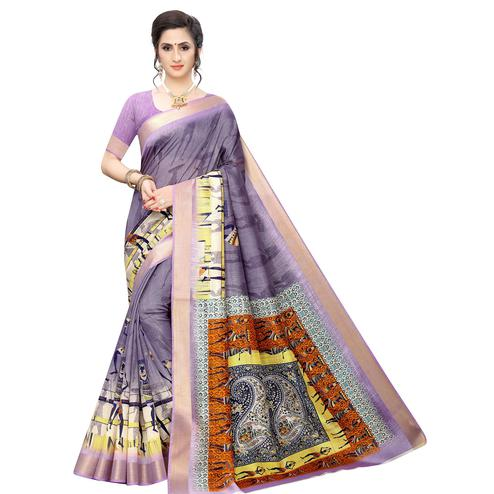 Beautiful Purple Colored Casual Wear Printed Cotton Silk Saree