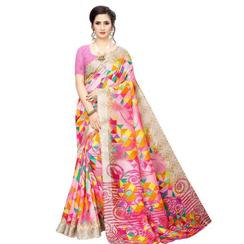 Delightful Light Pink Colored Casual Wear Geometric Printed Cotton Silk Saree