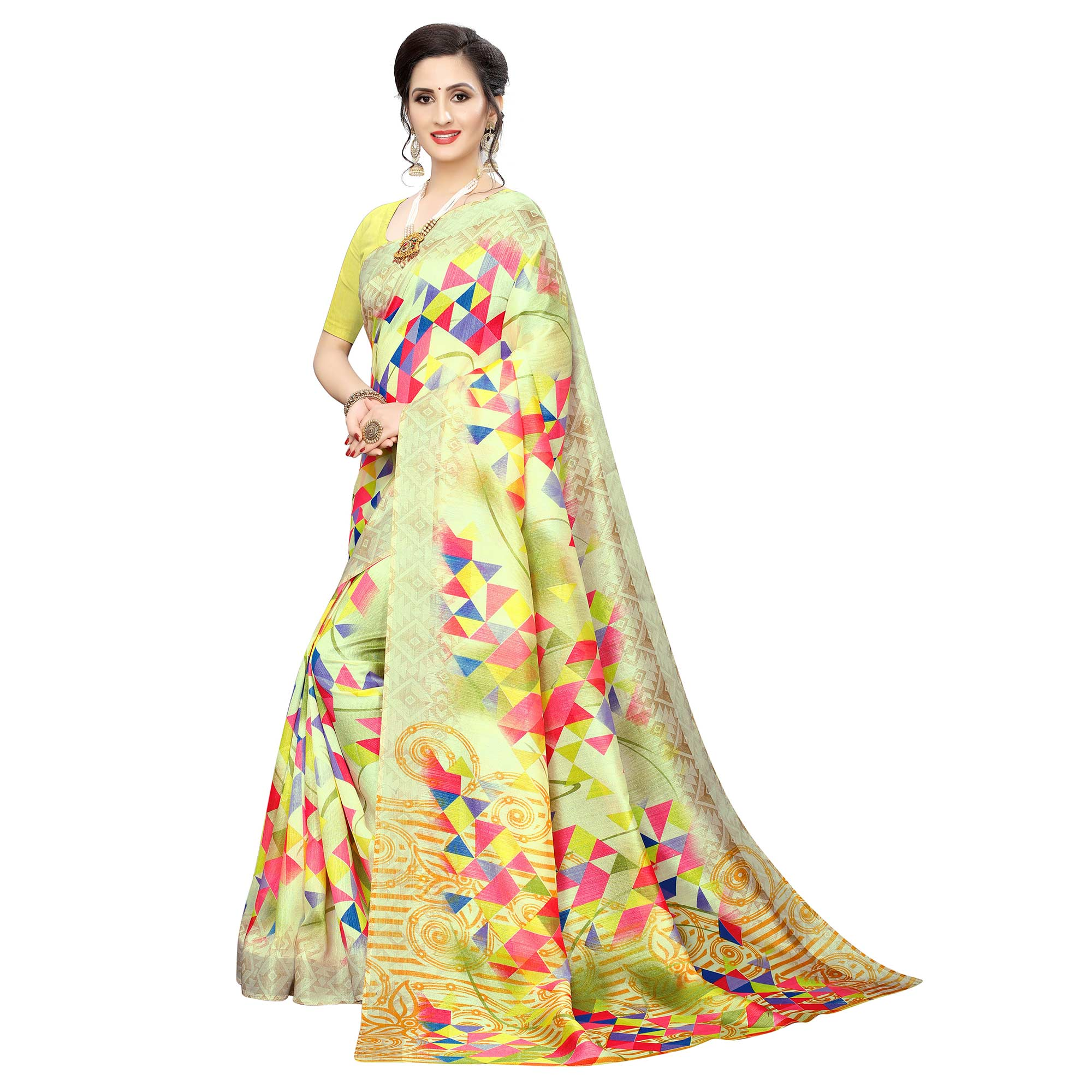 Engrossing Yellow Colored Casual Wear Geometric Printed Cotton Silk Saree