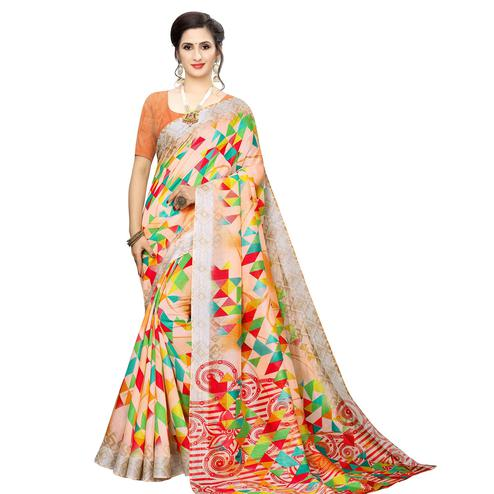 Captivating Peach Colored Casual Wear Printed Cotton Silk Saree