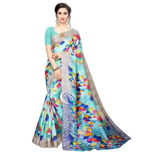 Innovative Aqua Blue Colored Casual Wear Geometric Printed Cotton Silk Saree