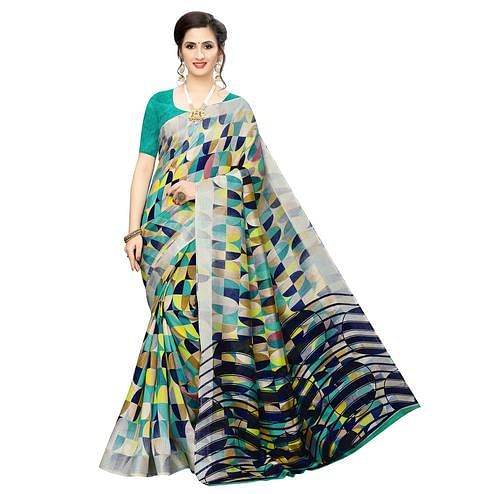 Eye-catching Turquoise Green-Multi Colored Casual Wear Geometric Printed Cotton Silk Saree