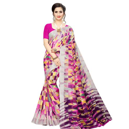 Fantastic Dark Pink Colored Casual Wear Geometric Printed Cotton Silk Saree