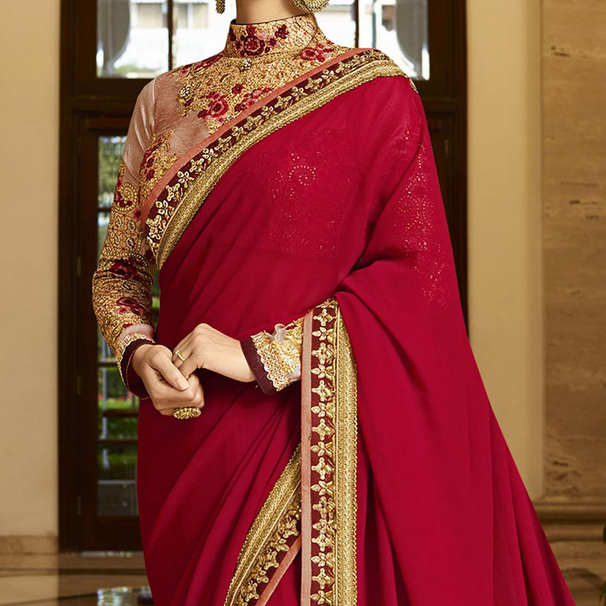 Red Lace Border Work Saree with Embroidered Blouse