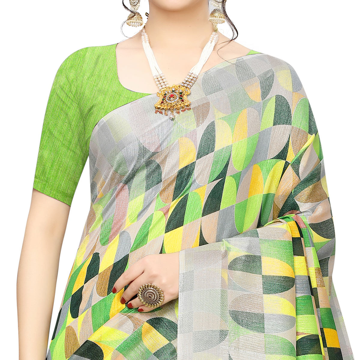 Gorgeous Green Colored Casual Wear Geometric Printed Cotton Silk Saree