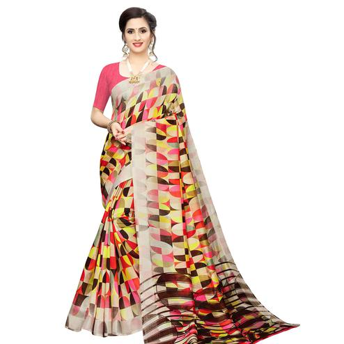 Blissful Red Colored Casual Wear Geometric Printed Cotton Silk Saree