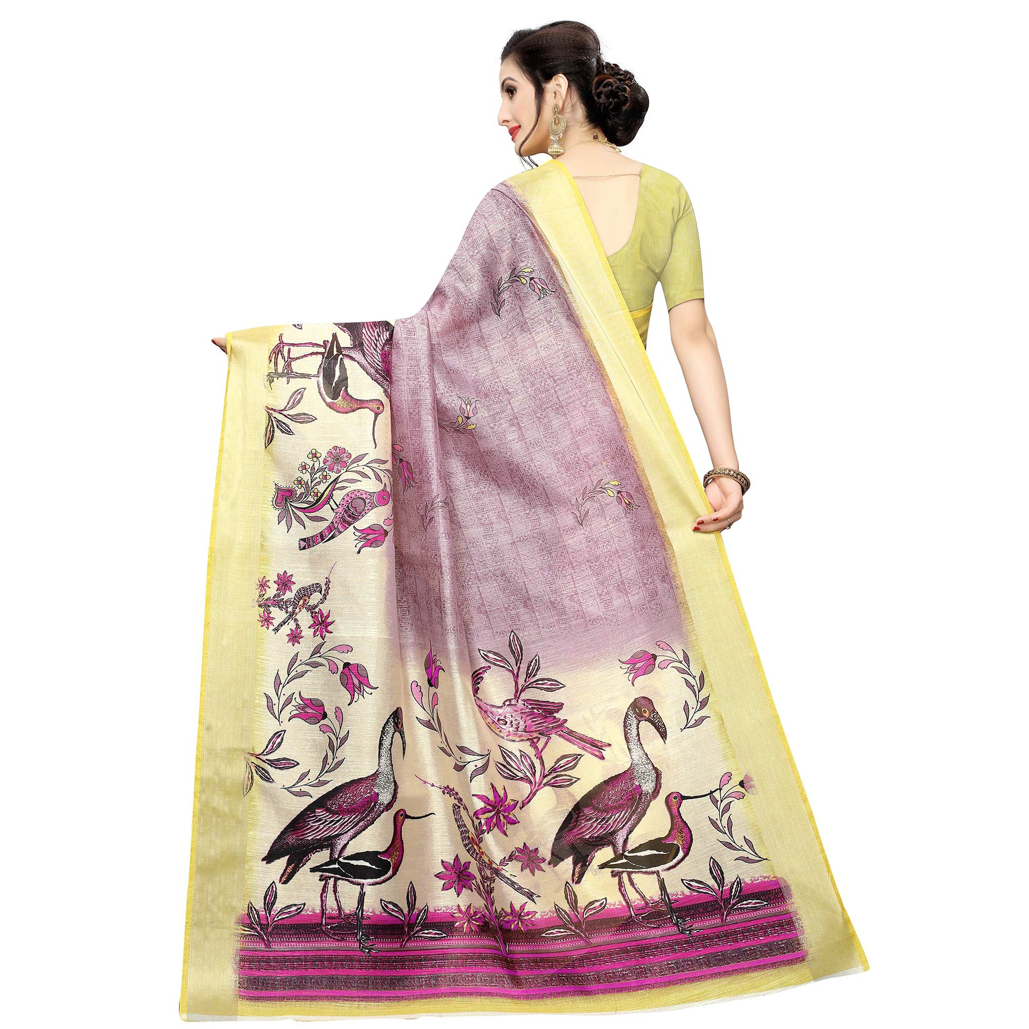 Ideal Light Mauve Colored Casual Wear Bird Printed Cotton Silk Saree