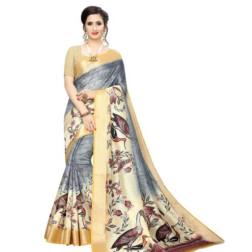 Imposing Grey Colored Casual Wear Bird Printed Cotton Silk Saree