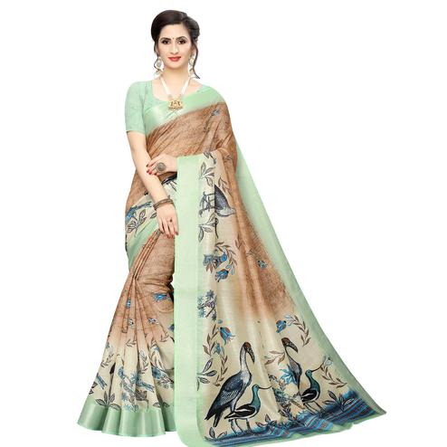 Lovely Beige Colored Casual Wear Bird Printed Cotton Silk Saree