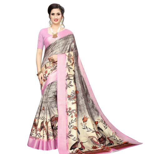 Majesty Grey-Pink Colored Casual Wear Bird Printed Cotton Silk Saree