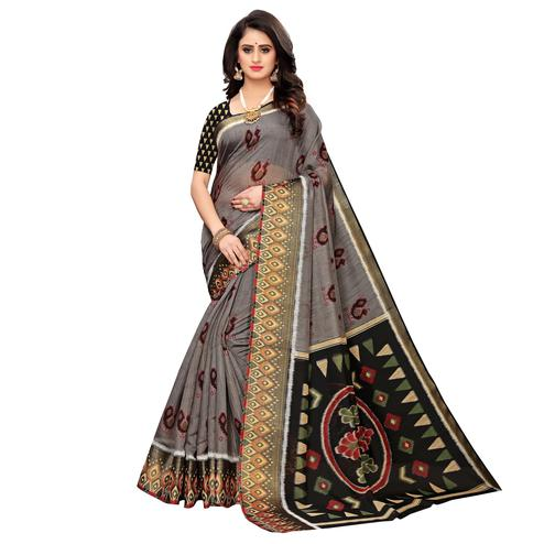 Lovely Grey Colored Casual Wear Peacock Print Cotton Silk Saree