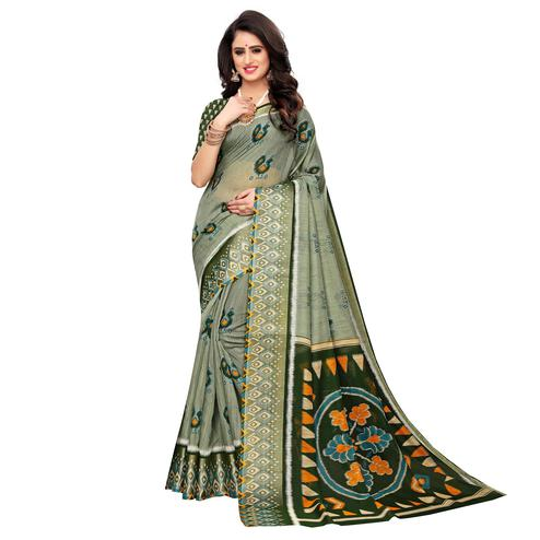 Majesty Light Green Colored Casual Wear Peacock Print Cotton Silk Saree