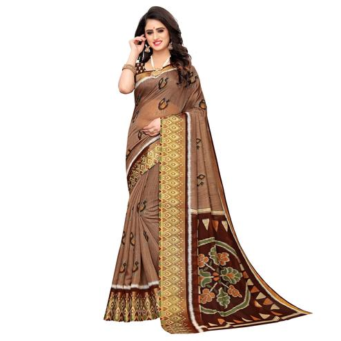 Impressive Brown Colored Casual Wear Peacock Print Cotton Silk Saree