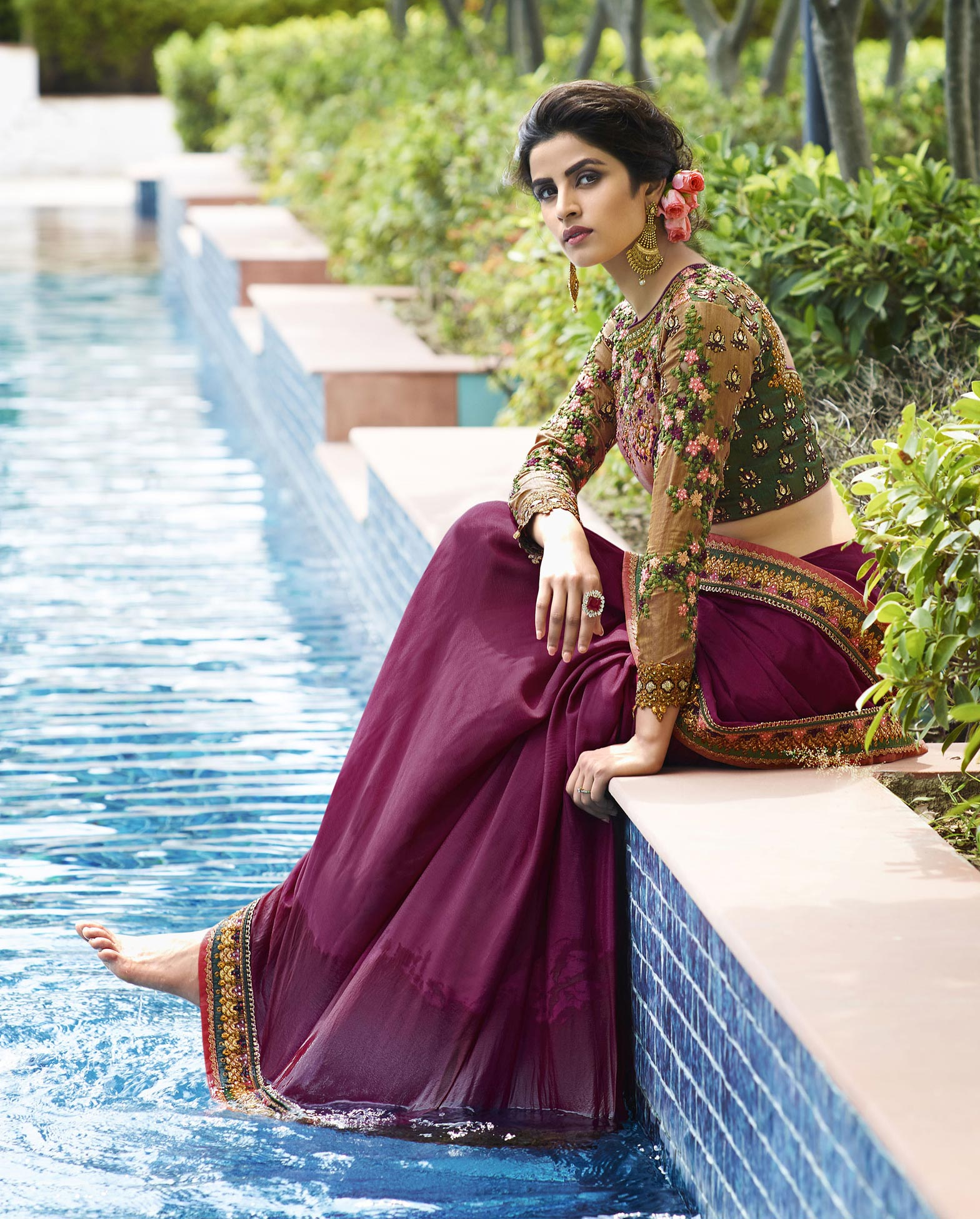 Purple Lace Border Saree with Embroidered Blouse