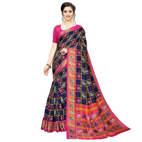 Mesmerising Navy Blue Colored Casual Wear Elephant  Print Cotton Silk Saree