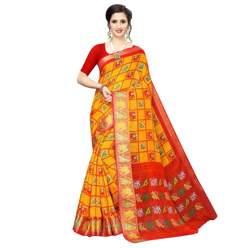 Hypnotic Yellow Colored Casual Wear Elephant  Print Cotton Silk Saree