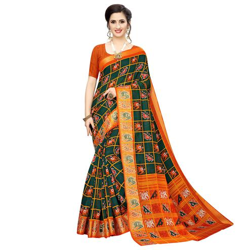 Flattering Dark Green Colored Casual Wear Elephant  Print Cotton Silk Saree