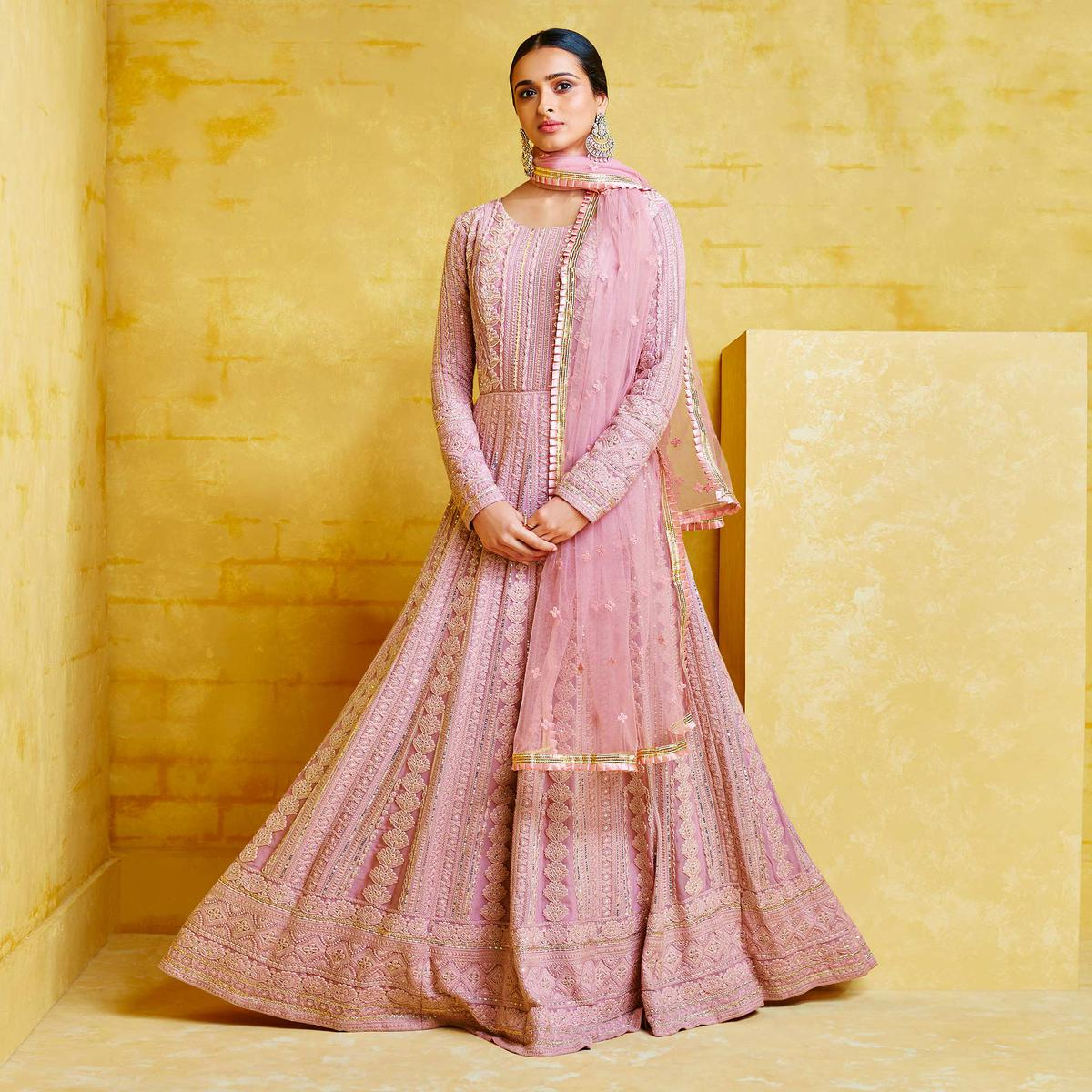 Adorable Lavender Colored Partywear Embroidered Georgette Anarkali Suit