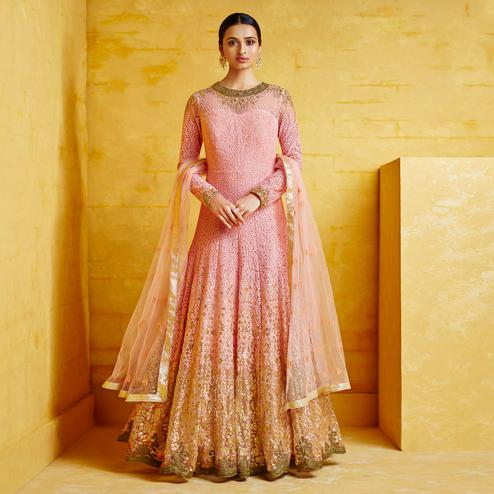 Glorious Pink Colored Partywear Embroidered Georgette Anarkali Suit