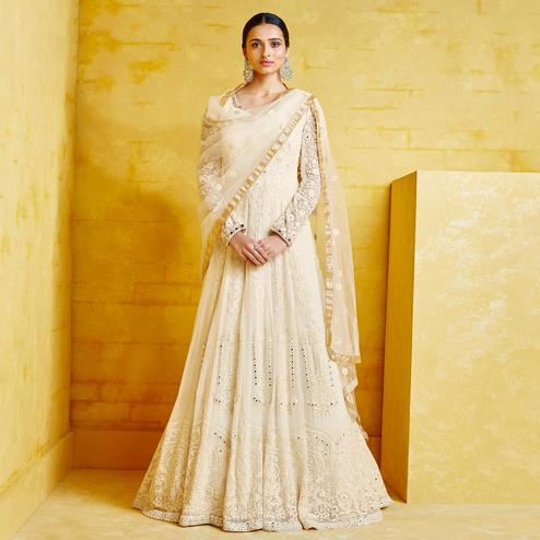 Attractive White Colored Partywear Embroidered Georgette Anarkali Suit