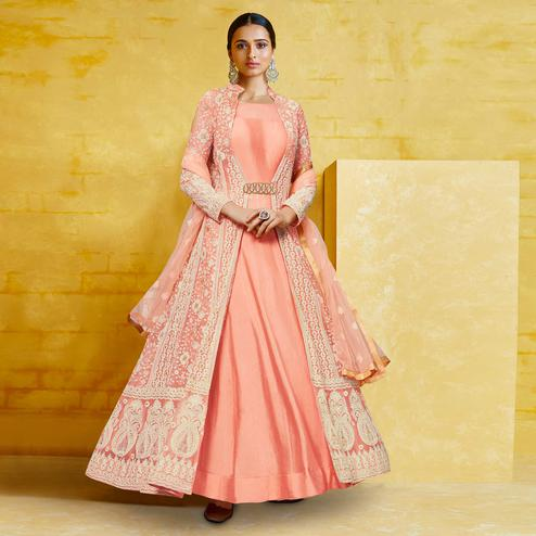 Beautiful Peach Colored Partywear Embroidered Georgette Anarkali Suit