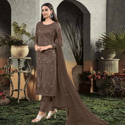 Appealing Brown Colored Partywear Embroidered Georgette Palazzo Suit