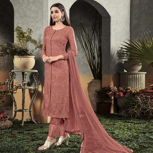 Capricious Mauve Colored Partywear Embroidered Georgette Palazzo Suit