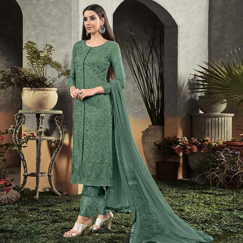Entrancing Green Colored Partywear Embroidered Georgette Palazzo Suit