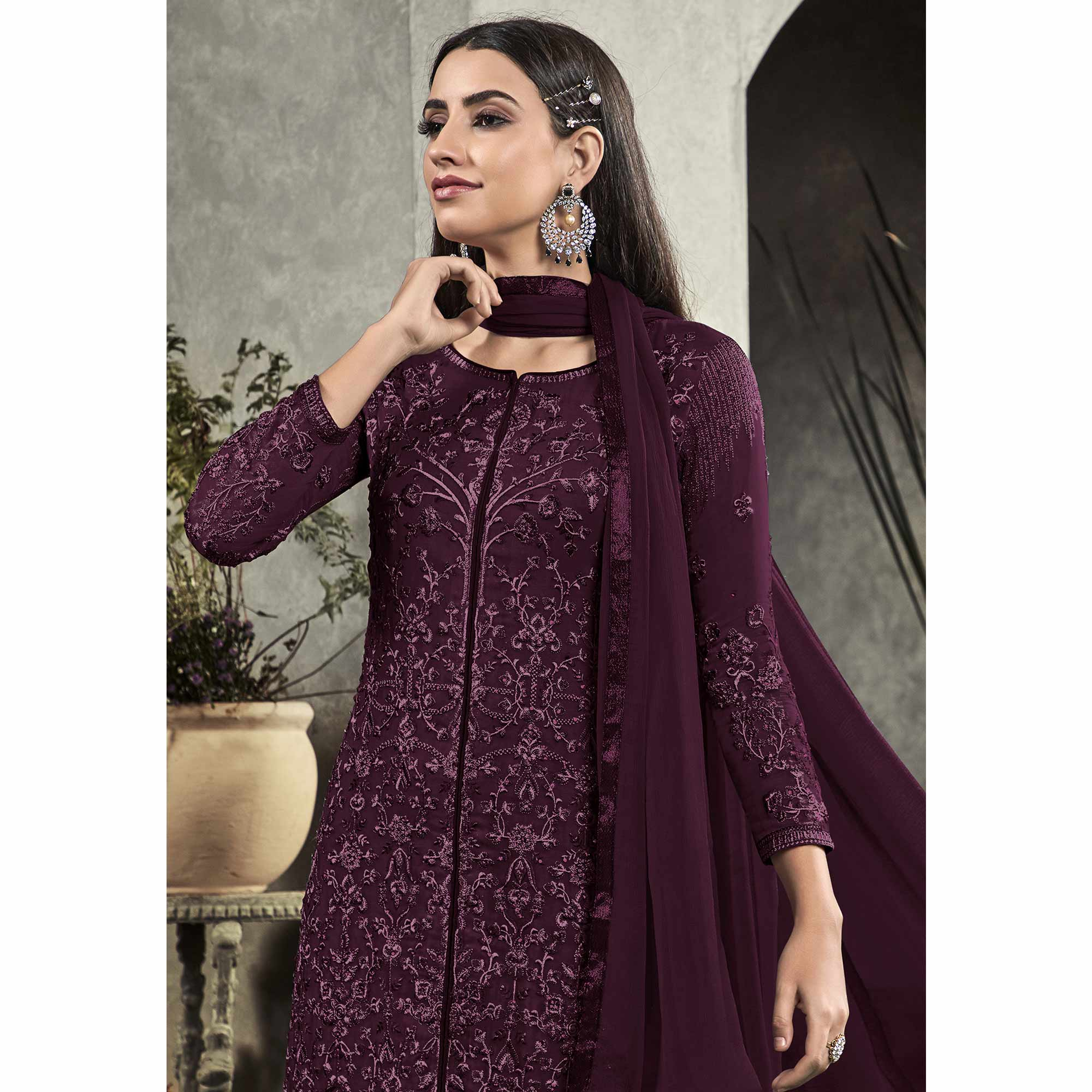 Groovy Purple Colored Partywear Embroidered Georgette Palazzo Suit