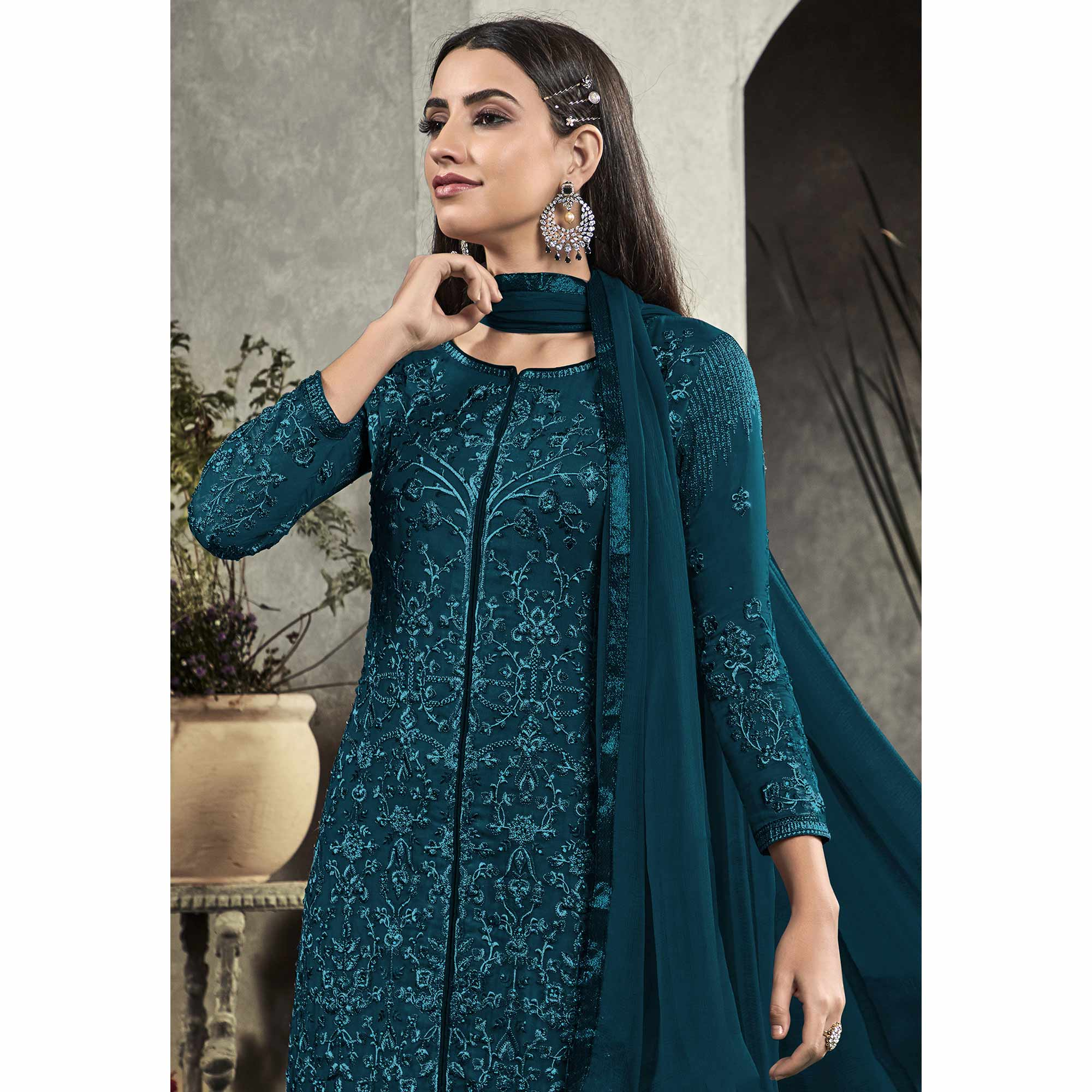 Adorning Rama Blue Colored Partywear Embroidered Georgette Palazzo Suit