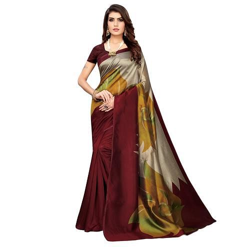 Intricate Maroon Colored Casual Wear Printed Art Silk Saree